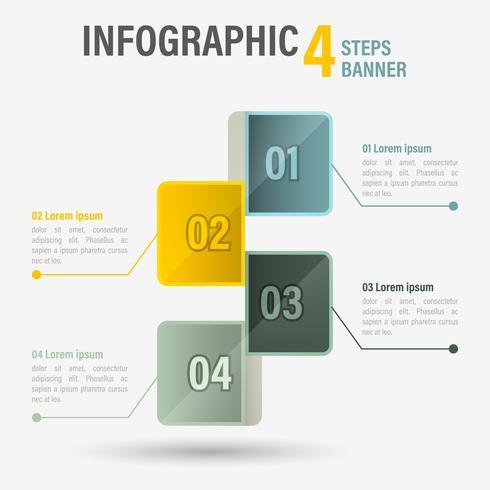 Infographie quatre étapes avec des éléments hexagonaux.