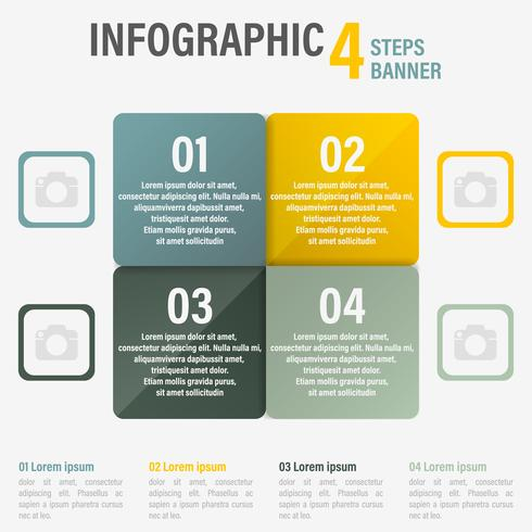 Infographic four steps banner.
