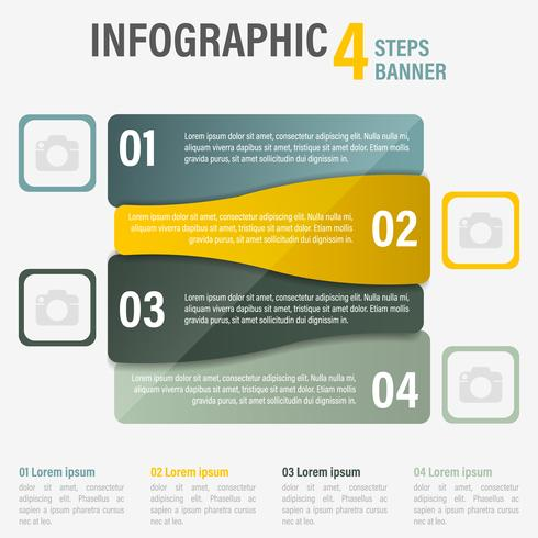 Bannière de vecteur infographique quatre étapes. Partie 10.