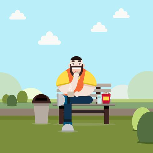Hipster Man Sitting in the Park flat design