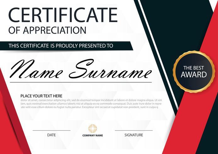 Rotes schwarzes horizontales Zertifikat der Eleganz