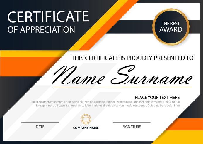 Certificado horizontal Orange Elegance