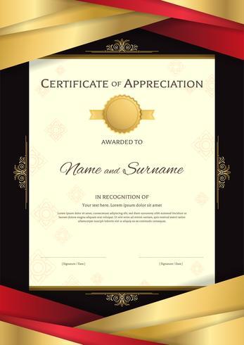 Modèle de certificat de portrait de luxe avec cadre élégant de bordure dorée, sur fond thaï, conception du diplôme pour l'obtention du diplôme ou l'achèvement
