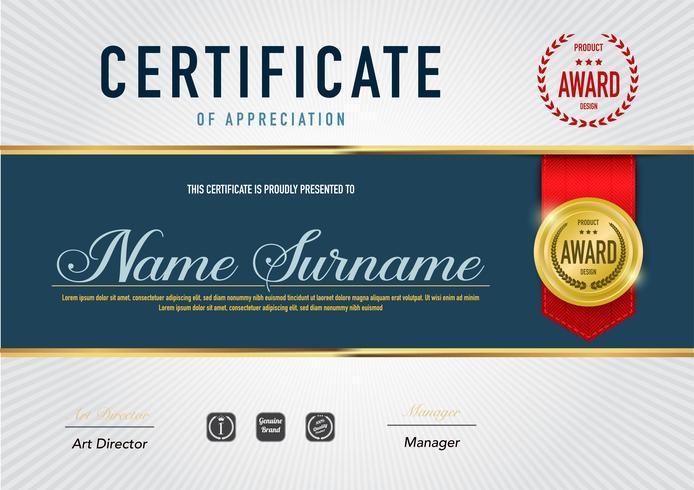 Plantilla de certificado, diploma y estilo de lujo, ilustración vectorial.