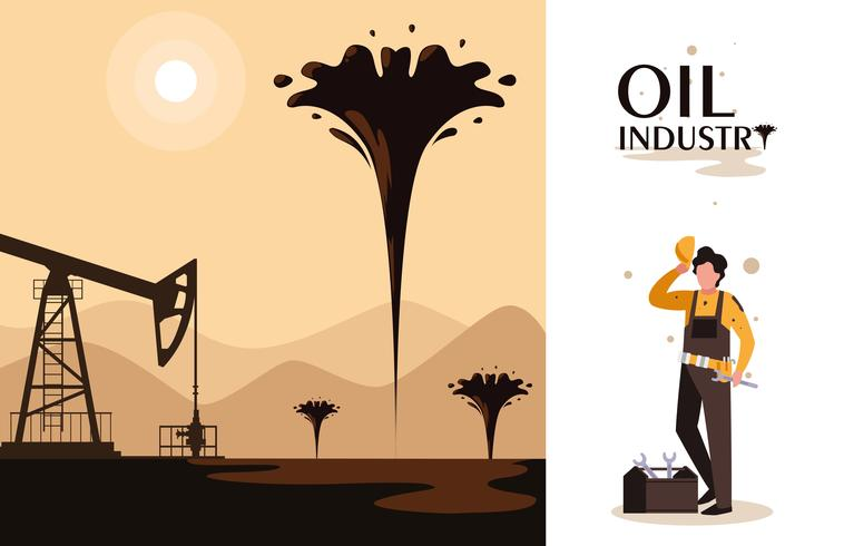 escena de la industria petrolera con torre de perforación y trabajador vector