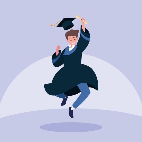 Studente di laurea del ragazzo che salta nella progettazione di celebrazione