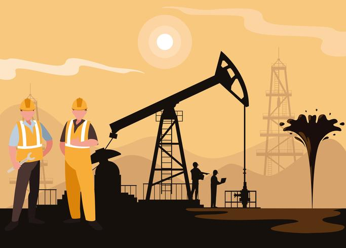 oil industry scene with derrick and workers vector