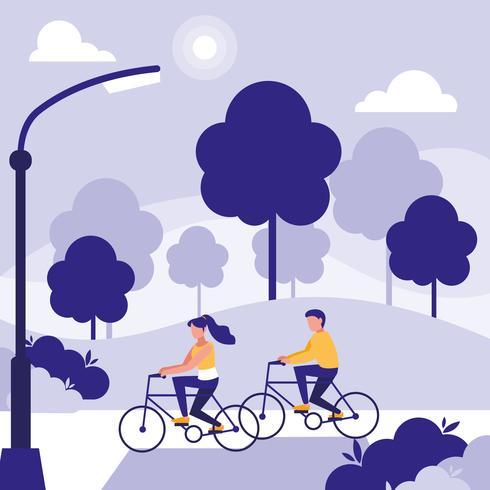 couple dans le parc vélo avatar personnage