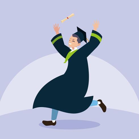 Afstuderen jongensstudent springen in viering ontwerp vector