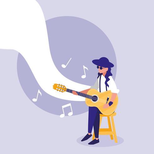 hombre músico tocando la guitarra acústica vector