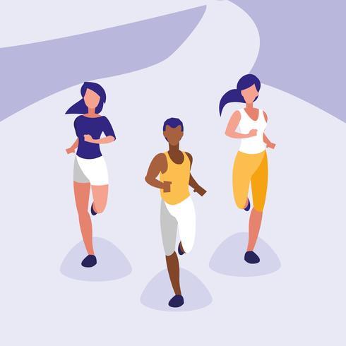 Atleta de personas corriendo personaje avatar vector