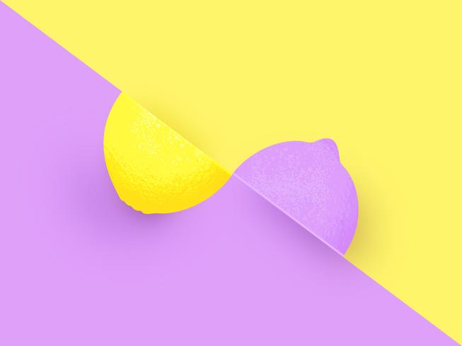 Fondo di colore di schiocco del limone di due metà