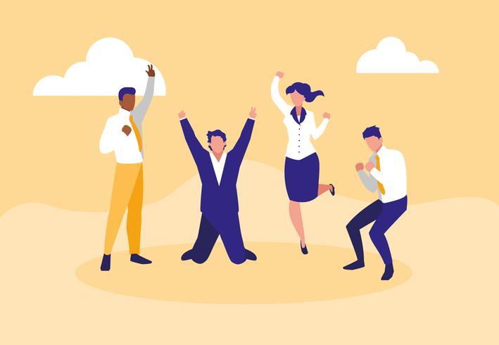 uomini d'affari di successo che celebrano personaggi vettore