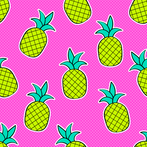 Ananas Pop Art Vector Seamless Background