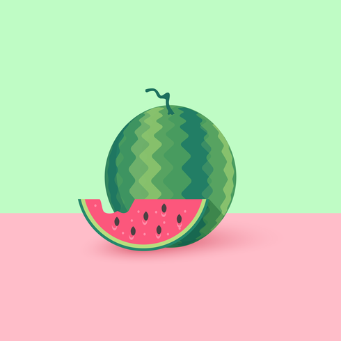 Watermelon And Slice Flat Vector Illustration