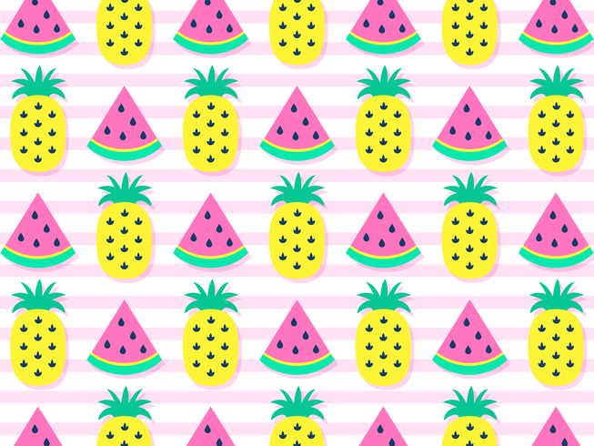 Colorful Watermelons And Pineapples Background