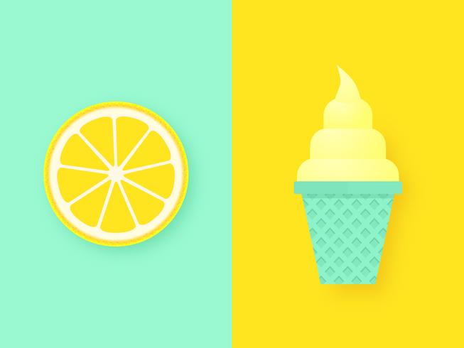 Lemon Slice And Ice Cream Pop Background