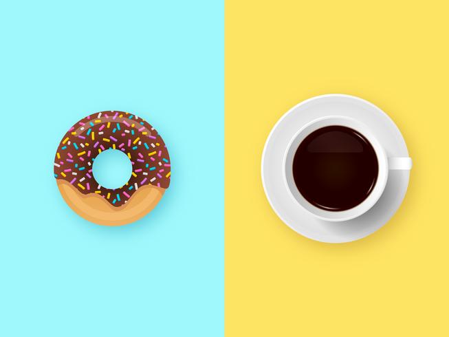 Chocolade Donut En Koffie Ontbijt