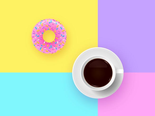 Donut Och Kopp Kaffe Pop Bakgrund
