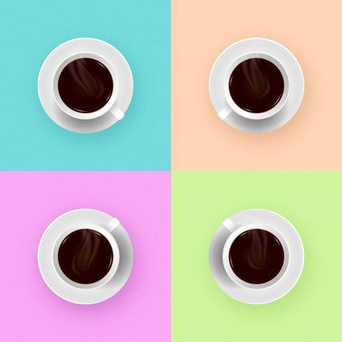 Tasses à café blanches fond de couleur pop