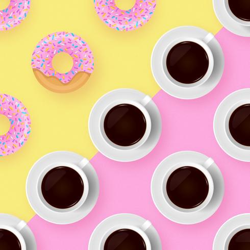 Kaffee-und Schaumgummiring-Knall-Farbhintergrund