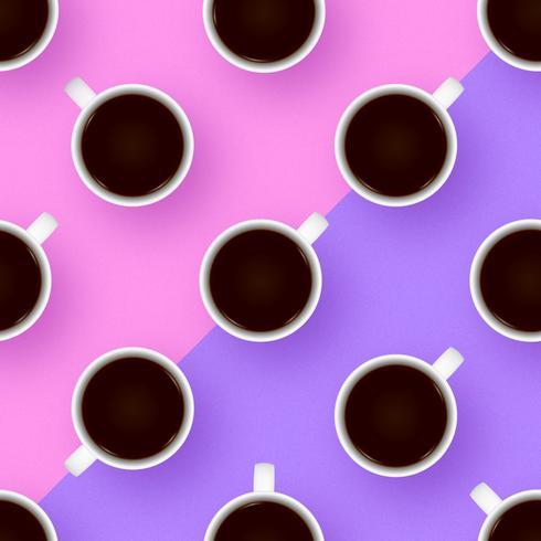 Xícaras de café cor Pop Vector de fundo
