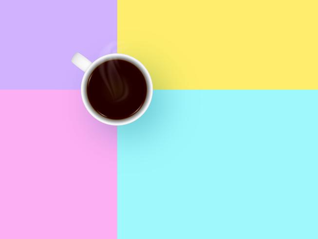 Tasse à café sur fond de vecteur pastel