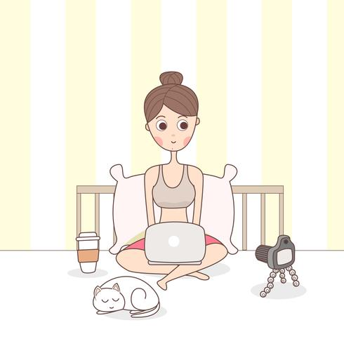 Blogger Girl Creating Content vector