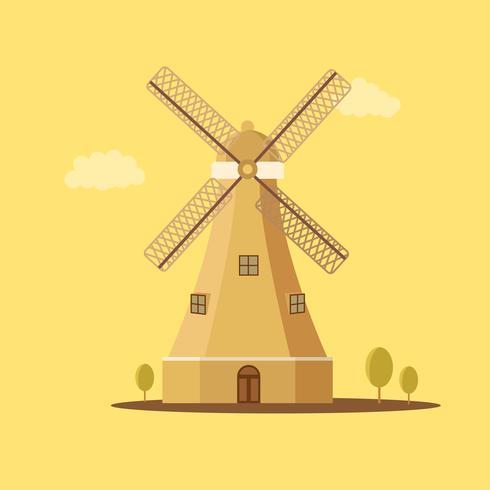 Moulin à vent rétro traditionnel vecteur