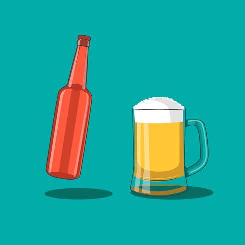 Botella de cerveza y taza
