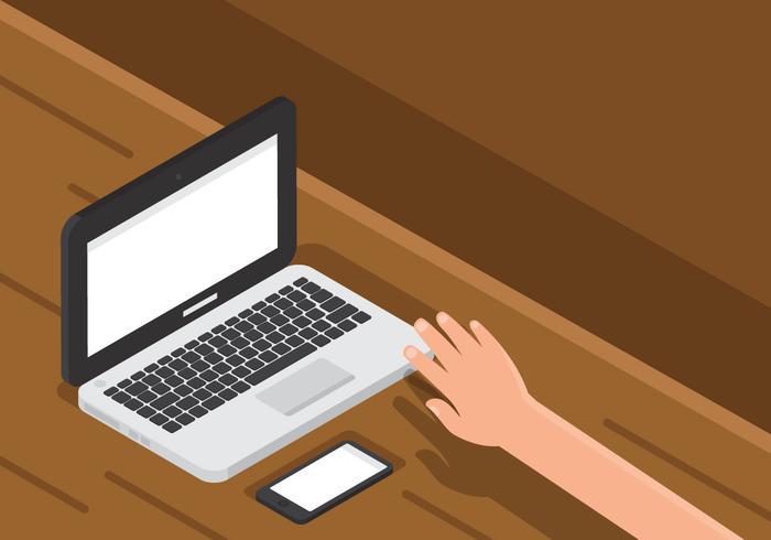 Laptop auf hölzerner Schreibtisch Technologie