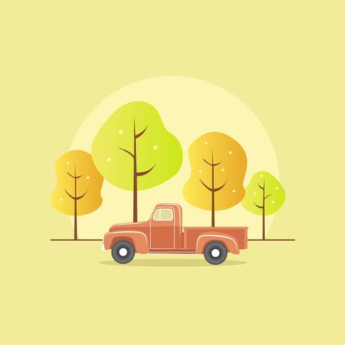 Camionnette dans les bois