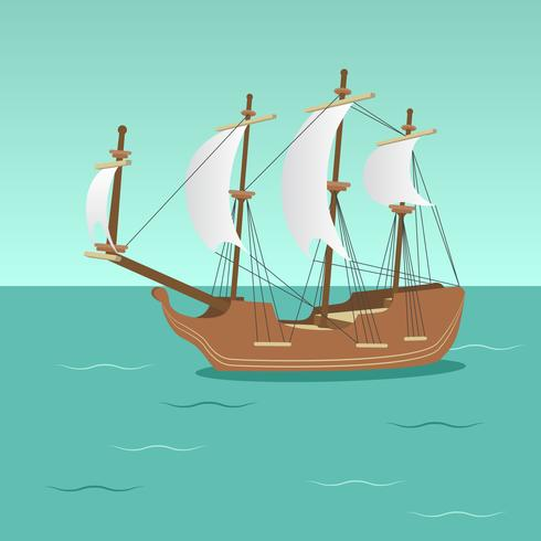 Wooden Ship with Sails