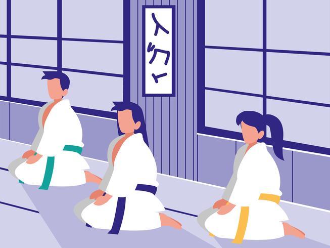 personnes dans une scène d'arts martiaux dojo