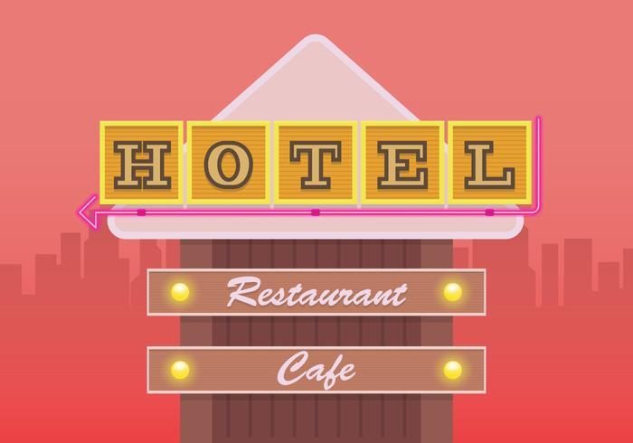 Signe de l'hôtel rétro. Signe de restaurant rétro.
