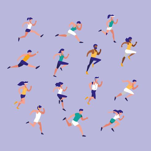 personnes athlète courir personnage avatar