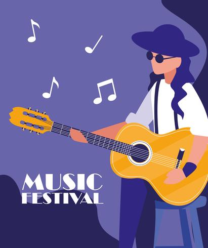 musician man playing acoustic guitar poster vector