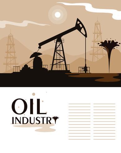 escena de la industria petrolera con torre de perforación vector