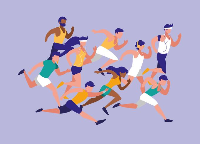 people athlete running avatar race character