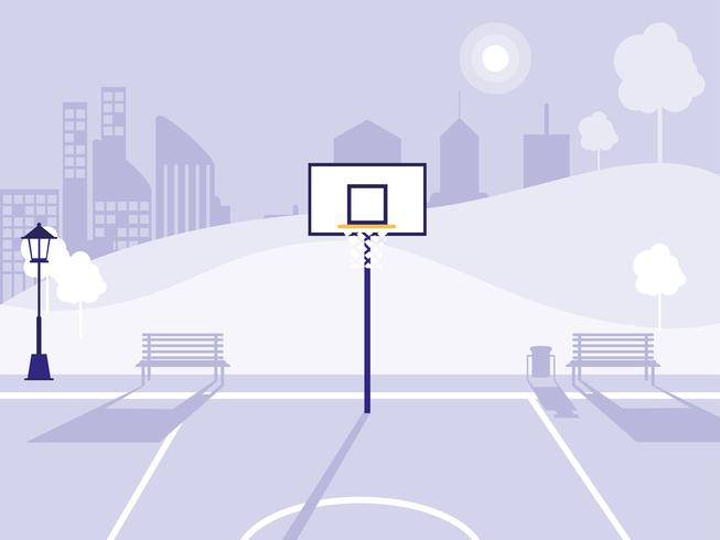 basketball court and park  vector