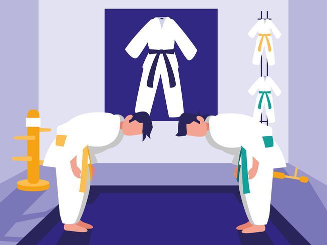martial arts dojo scene vector