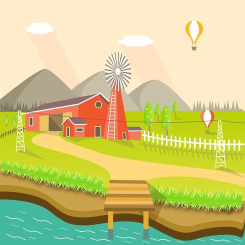 Rode boerderij met weide en rivier vector