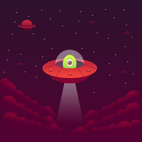 Green Monster Alien in a Red Spaceship vector