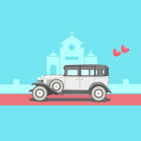Weinlese-Hochzeits-Auto wenn Front der Kirche