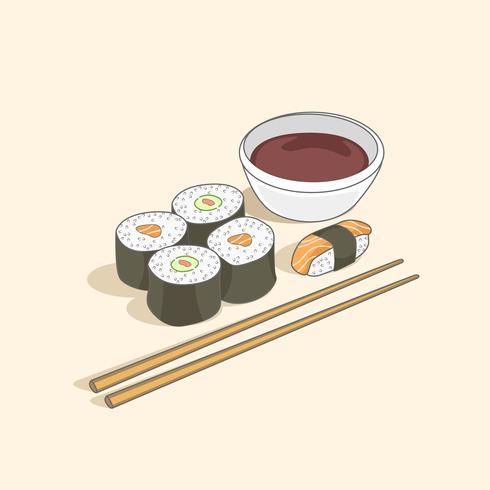 Varietà di sushi con salsa di soia e bacchette vettore