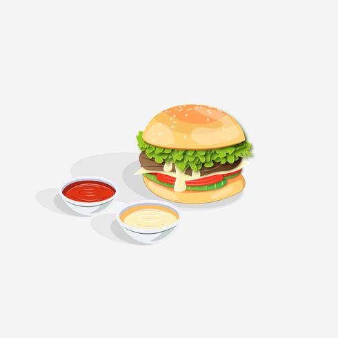 Realistic Double Hamburger with Cheese and Ketchup Dippings