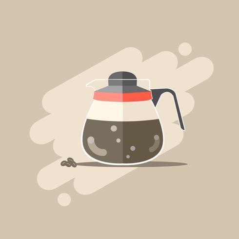 Svart espressokaffe i kaffekokare vektor