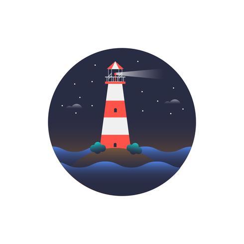 Rode en witte vuurtorenscène bij nacht