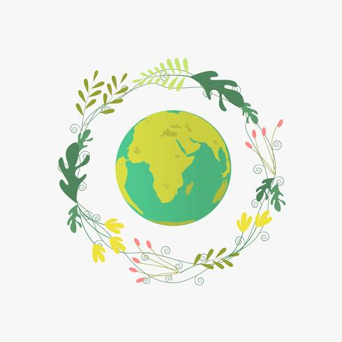 Cartel del Día Mundial del Medio Ambiente con Earth Planet y un marco verde orgánico vector