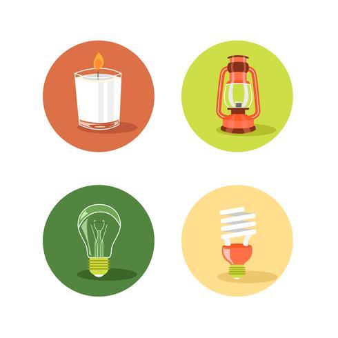 Lichtquellen-Icon-Set mit Kerze, Lampe, Glühlampe und CFL-Lampe